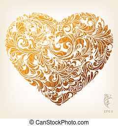 corazón, ornamental, oro, patrón