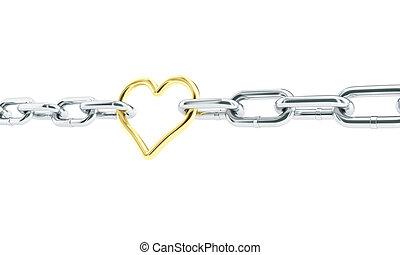 corazón, oro, en, chains., 3d, ilustraciones, en, un, fondo blanco
