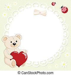 corazón, oso, rojo, teddy