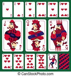 corazón, póker, conjunto, traje, tarjetas, juego