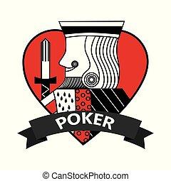 corazón, póker, rey, símbolo, tarjeta, cinta