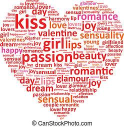 corazón, palabra, concepto, amor, nube