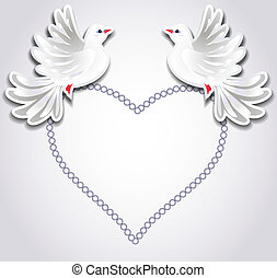 corazón, palomas, dos