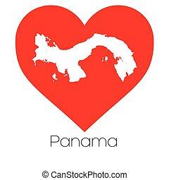 corazón, panamá, forma, ilustración