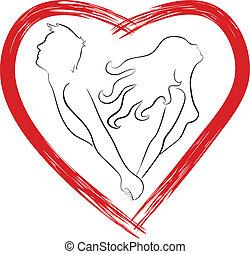 corazón, pareja, silueta, formado