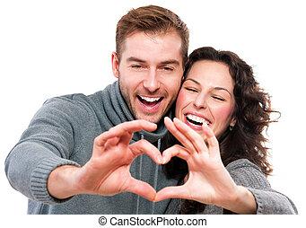 corazón, pareja, valentine, su, forma, manos, elaboración