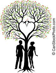 corazón, pareja, vector, árbol
