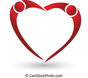 corazón, pareja, vector, figura, logotipo