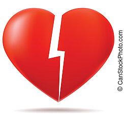 corazón, partes, dos, roto