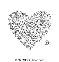 corazón, pasteles, colección, dulces, forma, diseño, su