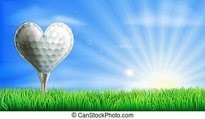 corazón, pelota, golf, formado