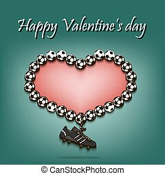 corazón, pelotas fútbol, día, valentines