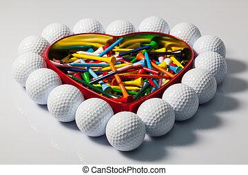 corazón, pelotas, tes golf