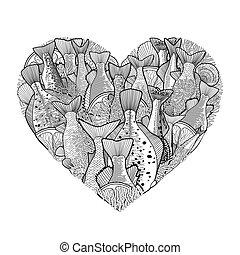 corazón, pez, gráfico, océano, forma