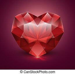 corazón, piedra, gema, formado