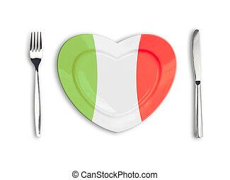 corazón, placa, coloreado, en, italiano, nacional, colores, con, tenedor, y, cuchillo, aislado