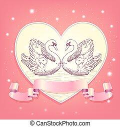 corazón, plano de fondo, con, hearted, cisnes, y, cinta