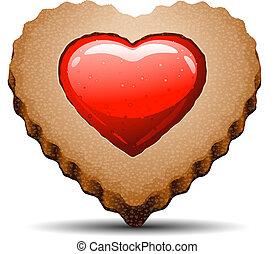 corazón, plano de fondo, formado, galleta, blanco