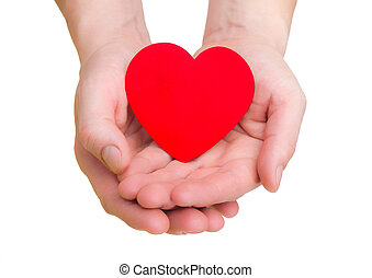 corazón, plano de fondo, manos, blanco, asimiento, rojo