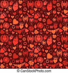 corazón, plano de fondo, seamless, pattern.eps