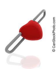 corazón, plata, cadena, rojo