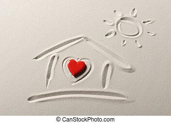 corazón, playa, dibujo, plano de fondo, hogar