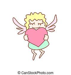 corazón, poco, vuelo, ilustración, niña, caricatura