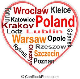 corazón, polonia, más grande, palabras, ciudades, nube