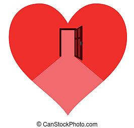 corazón, puerta