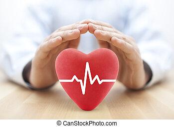 corazón, pulso, cubierto, por, hands., seguro médico, concepto