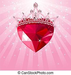corazón, radial, corona, cristal