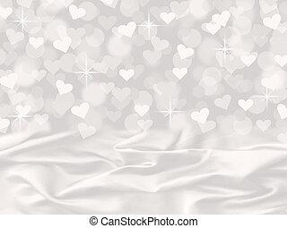 corazón, raso blanco, bokeh, valentine