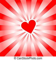 corazón, rayos, amor, radiates, valentine, rojo