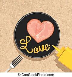 corazón, rebanadas de jamón, con, amor, letras