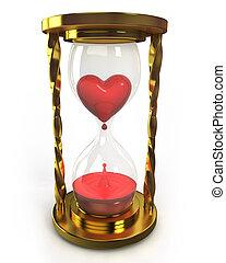 corazón, reloj de arena, sangre, dorado