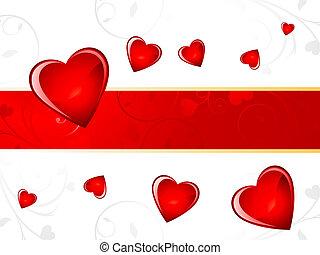 corazón, resumen, brillante, plano de fondo