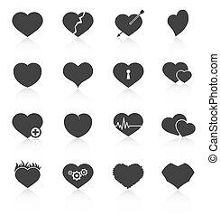 corazón, resumen, conjunto, iconos