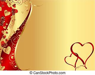 corazón, resumen, ondulado, marco, rojo