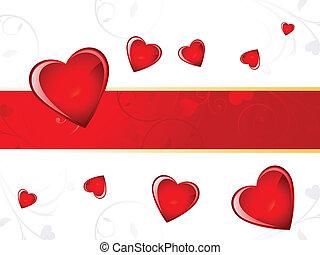 corazón, resumen, plano de fondo, valentine