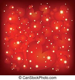 corazón, resumen, sparkly, valentine, forma, plano de fondo, c/, rojo