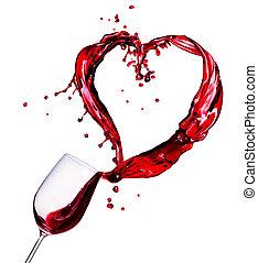 corazón, resumen, vidrio, salpicadura, vino rojo