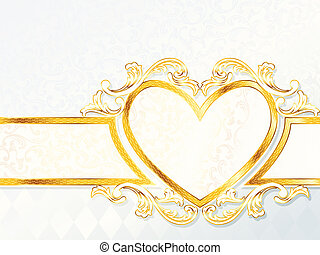 corazón, rococó, bandera, boda