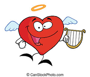 corazón, rojo, ángel