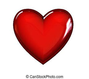 corazón, rojo, 3d