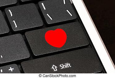 corazón rojo, botón, en, computadora, keyboard., el fechar del internet, concepto