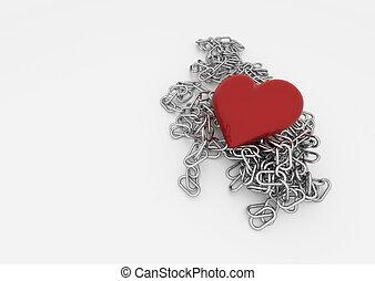 corazón, rojo, cadena