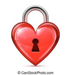 corazón, rojo, cerradura