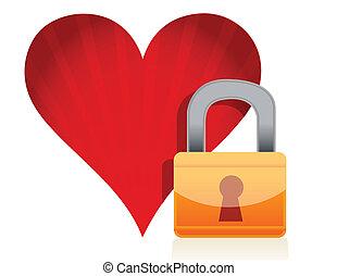 corazón rojo, cerradura