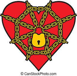corazón rojo, cerrar con llave, con, cadena