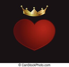 corazón rojo, con, corona